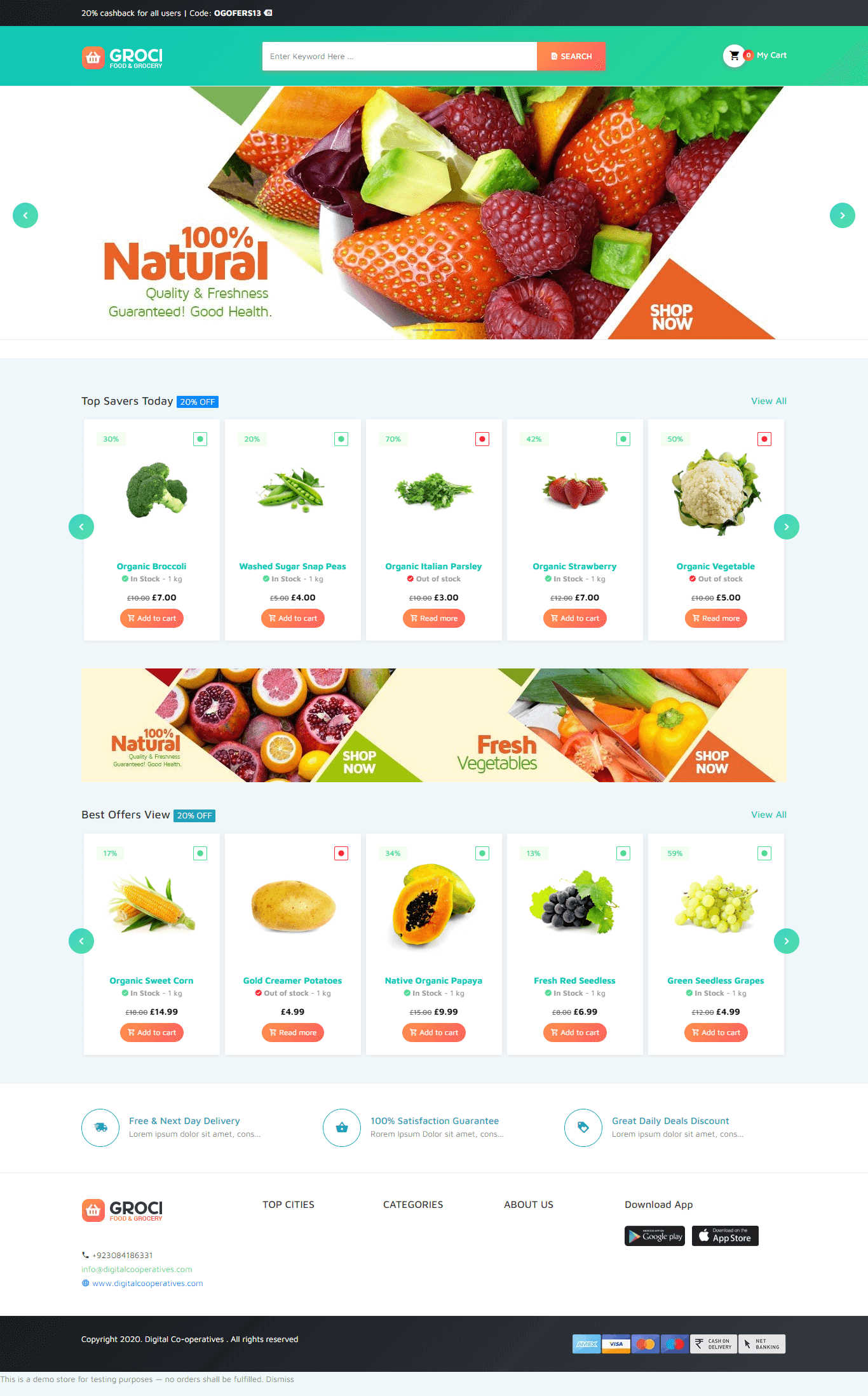 Grocery Store website developing and designing agency